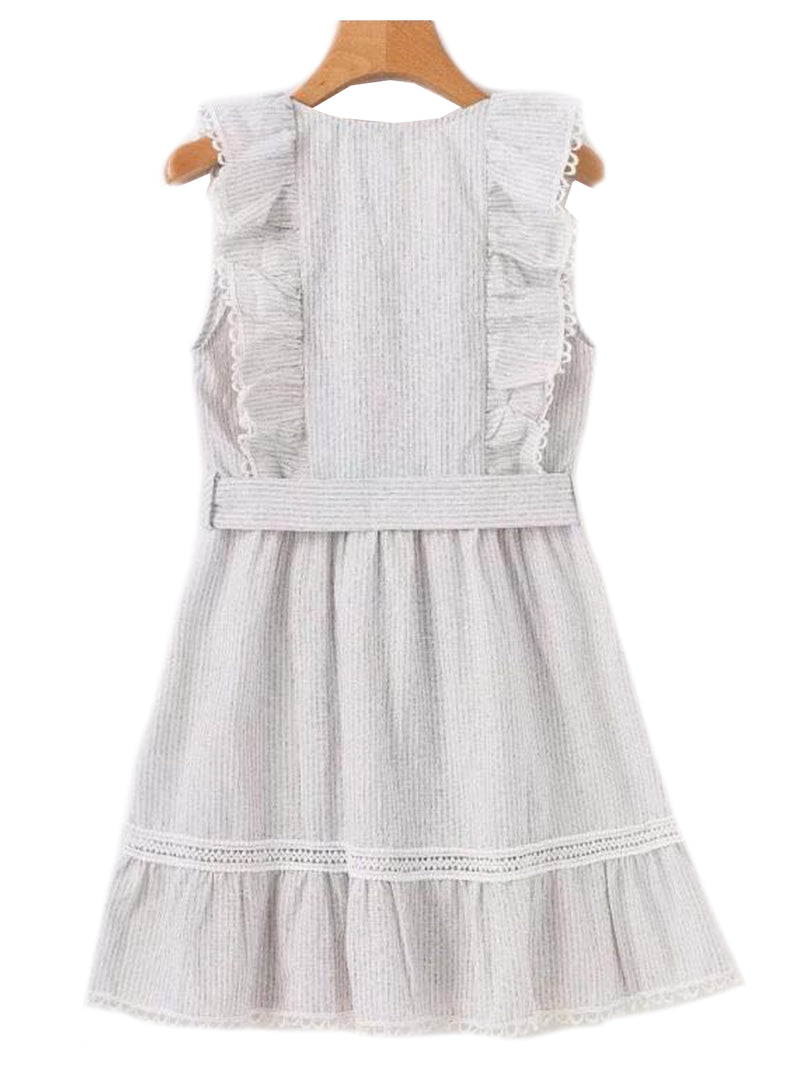 'Juanita' Frill Lace Belted Dress (2 Colors)