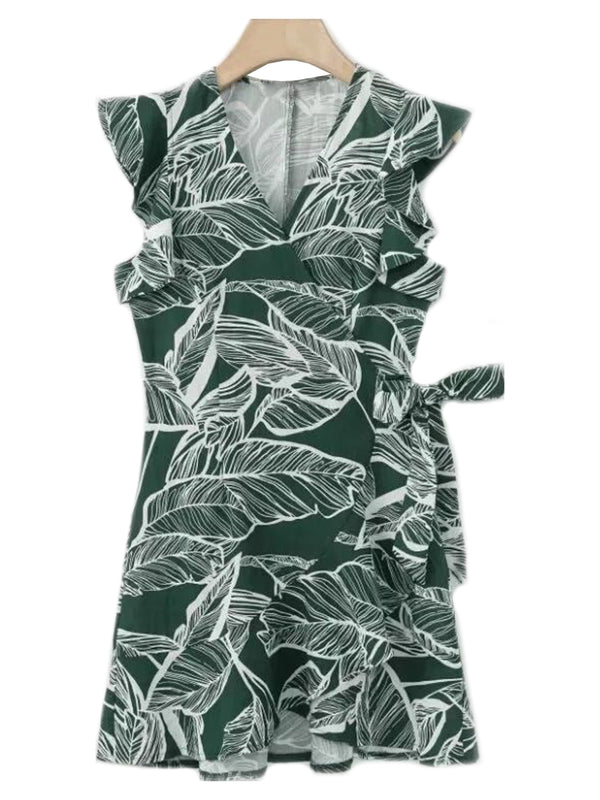 'Rima' Frilly Wrap Tied Leaf Pattern Dress (2 Colors)