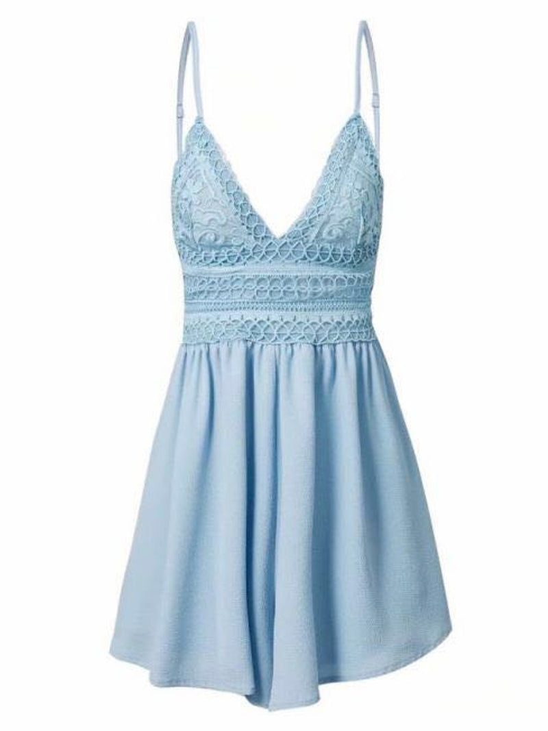 'Harleen' Lace Crochet Shoulder Strap Romper (3 Colors)