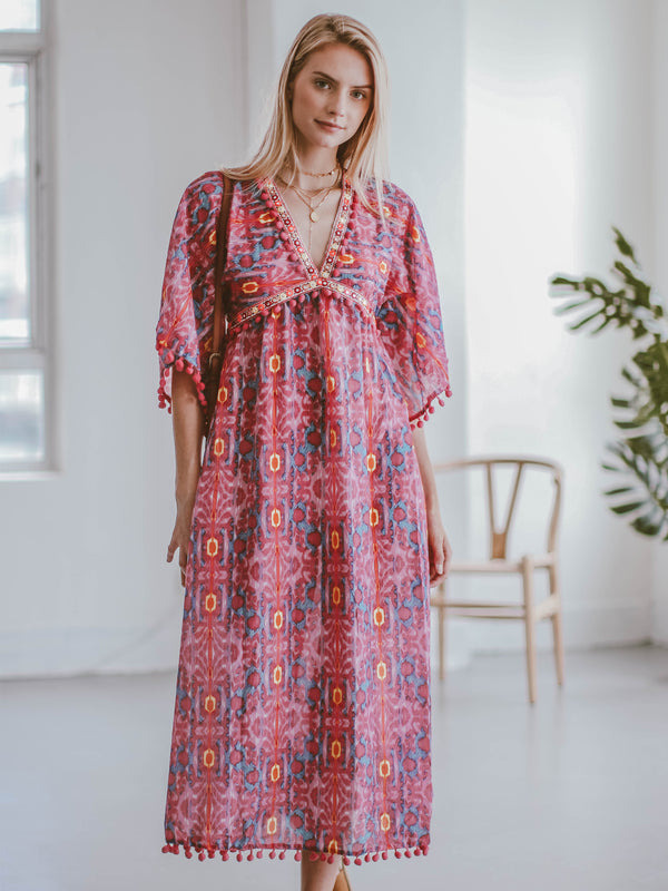 Goodnight Macaroon 'Regina' Pom Pom Boho Maxi Dress Model Full Body