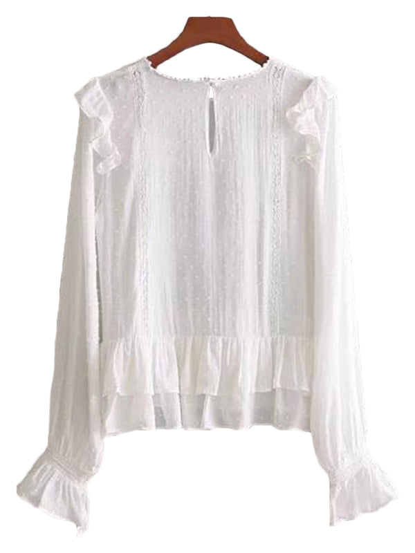 'Emily' Ruffle Lace Pleated Top