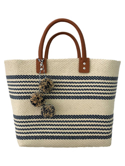 'Vivian' Pom Pom Striped Rattan Handbag (2 Colors)