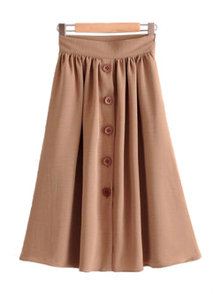 'Tarsha' Button Flare Midi Skirt