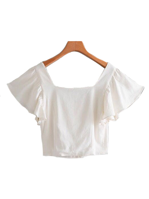 'Shin' Ruffle Sleeve Crop Top