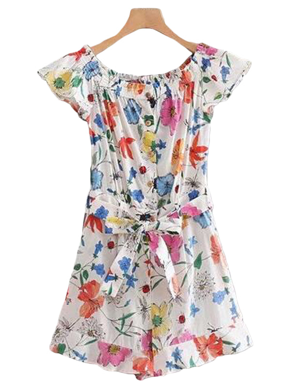 Goodnight Macaroon 'Maria' Floral Belted Off The Shoulder Romper Front