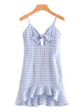 'Jennie' Tied Peplum Gingham Dress