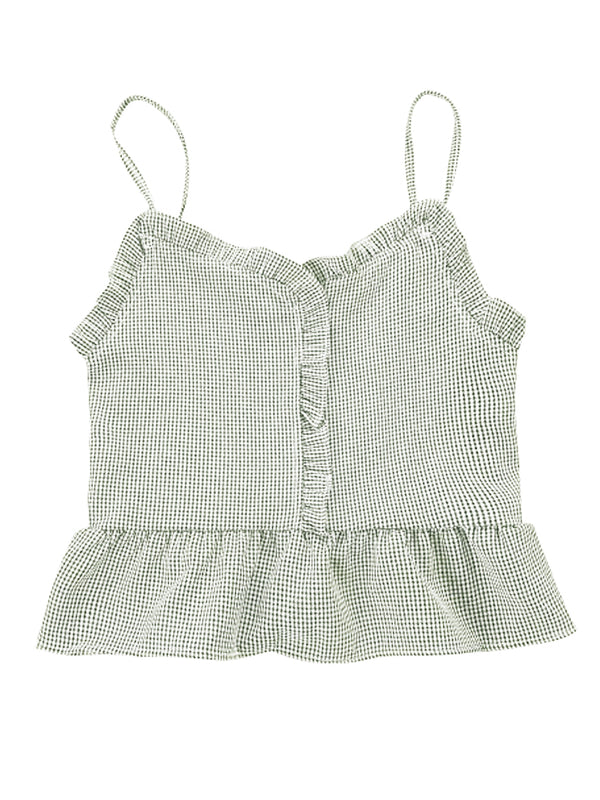 'Lindsey' Gingham Cami Peplum Top (5 Colors)