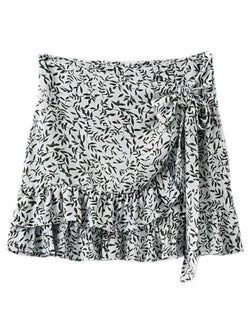 'Roshni' Wrap Frill Floral Skirt (2 Colors)