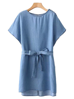 'Ewa' Belted Chambray Dress