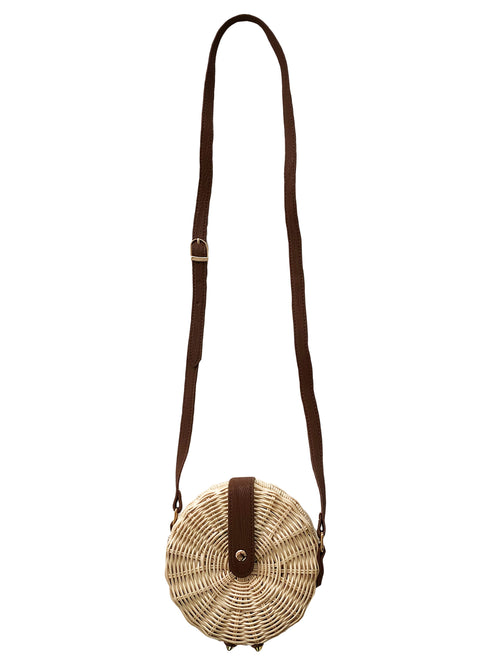 'Kian' Rattan Round Mini Bag