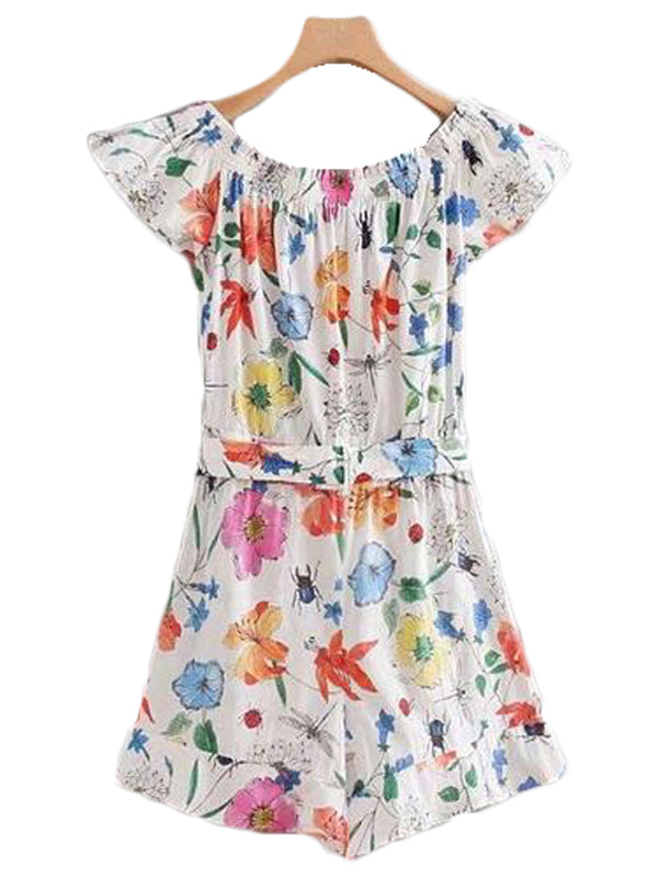 Goodnight Macaroon 'Maria' Floral Belted Off The Shoulder Romper Back