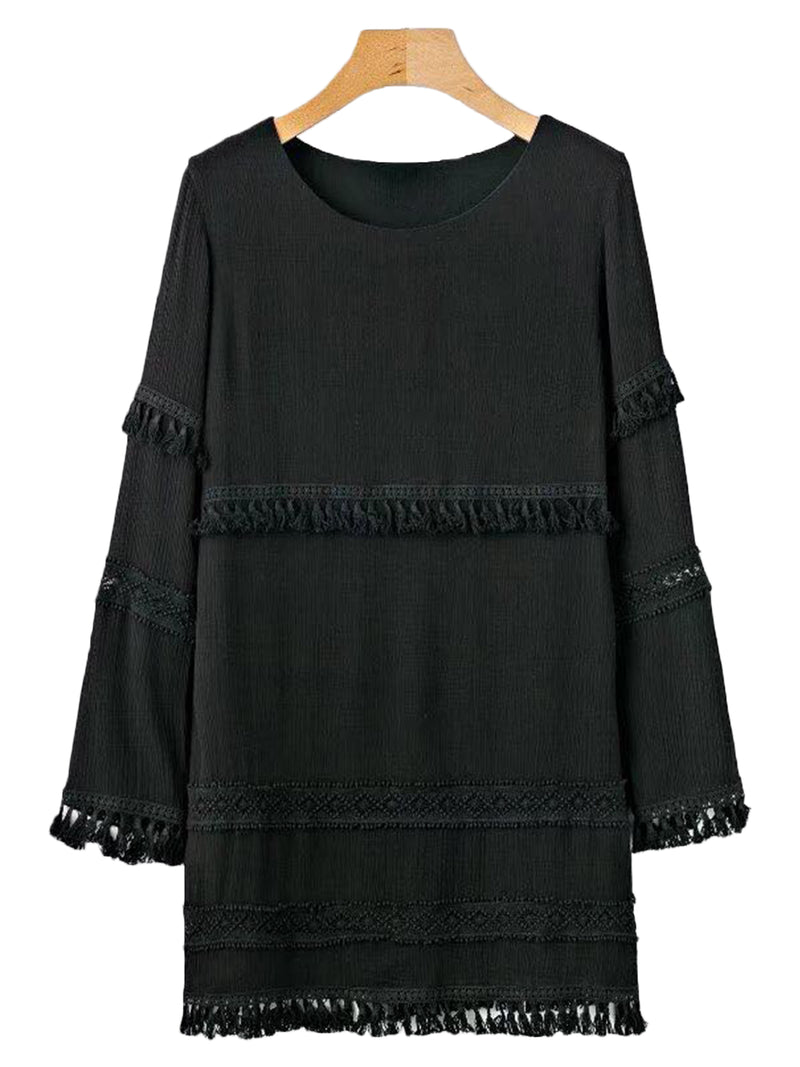 'Leah' Tassel Lace Shift Dress (2 Colors)