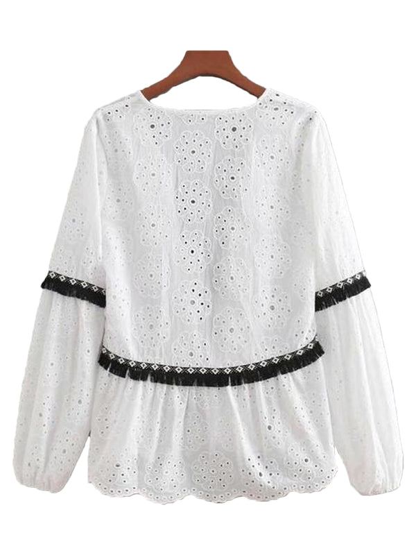 6169a3b9bb486 Goodnight Macaroon  Melody  Lace Eyelet Tied Top ...