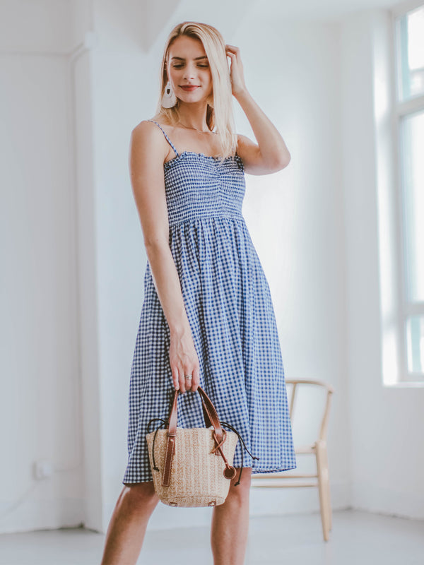 Goodnight Macaroon 'Piper' Gingham Ruched Midi Dress Model Full Body