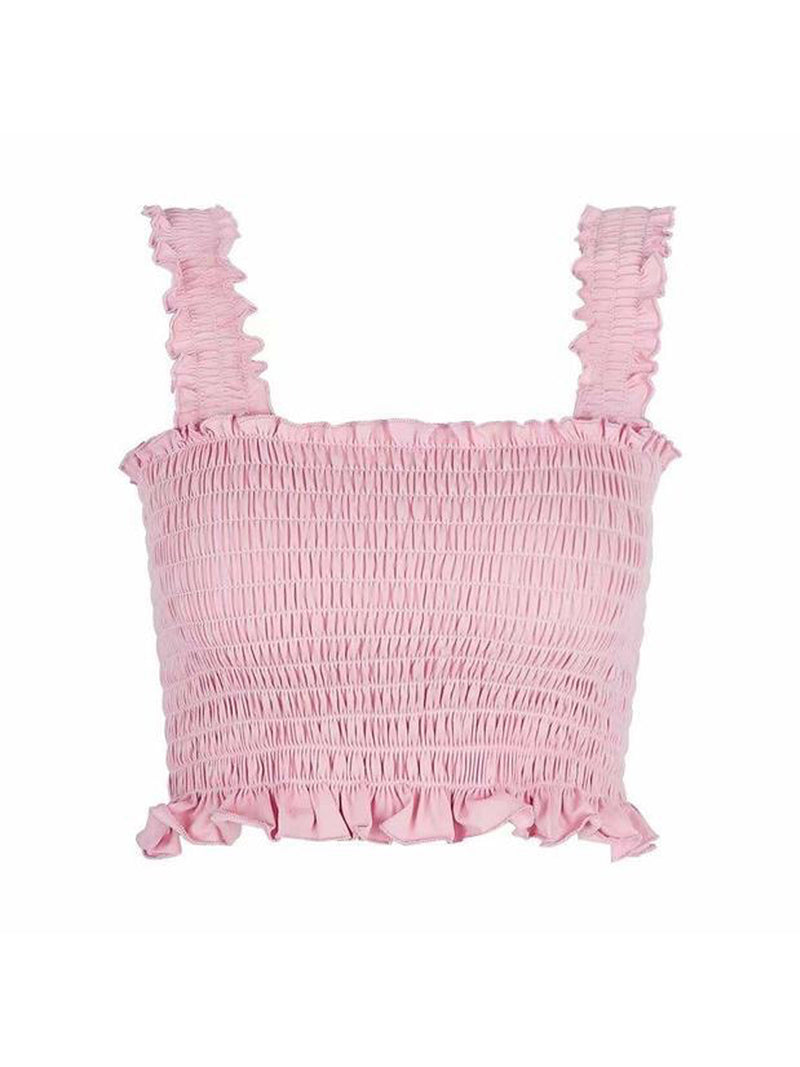 Goodnight Macaroon 'Iris' Ruched Cropped Top Product Pink Front