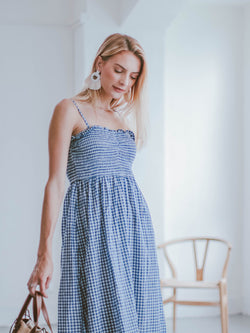 Goodnight Macaroon 'Piper' Gingham Ruched Midi Dress Model Half Body 2