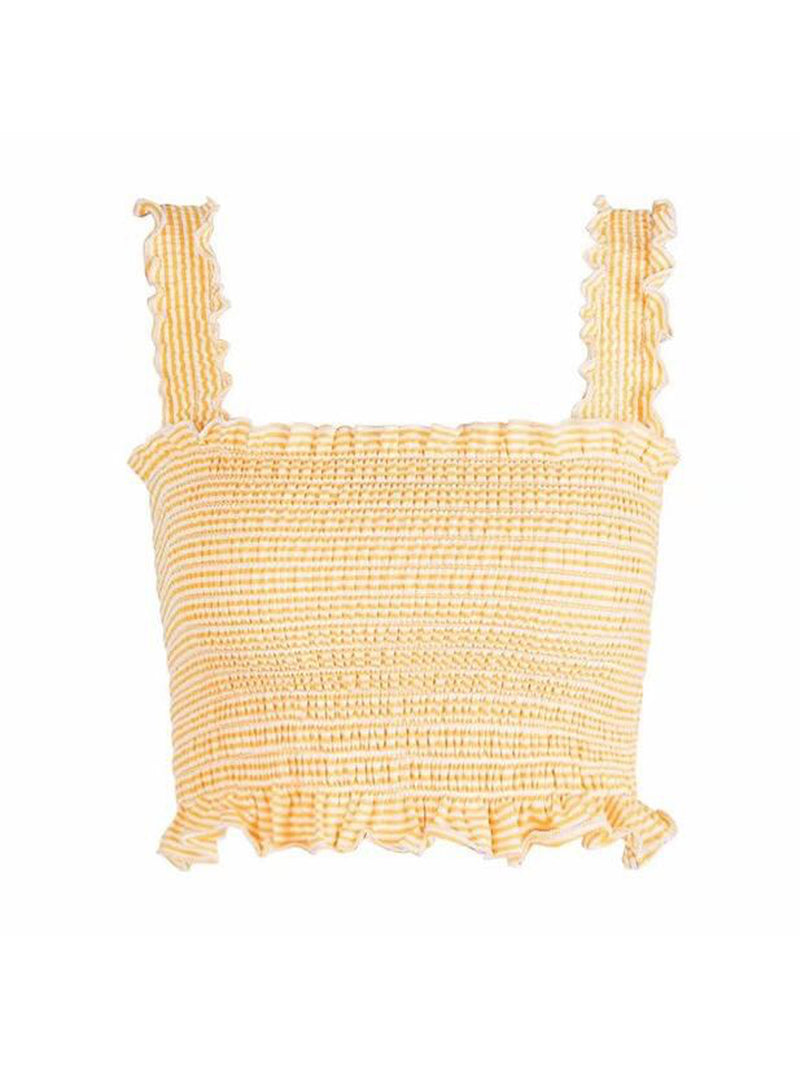 Goodnight Macaroon 'Iris' Ruched Cropped Top Product Yellow Front