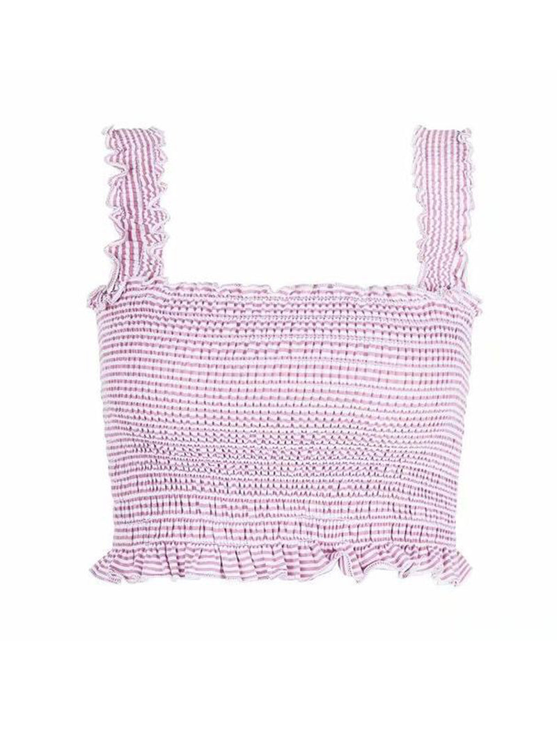 Goodnight Macaroon 'Iris' Ruched Cropped Top Product Pink Stripe Front