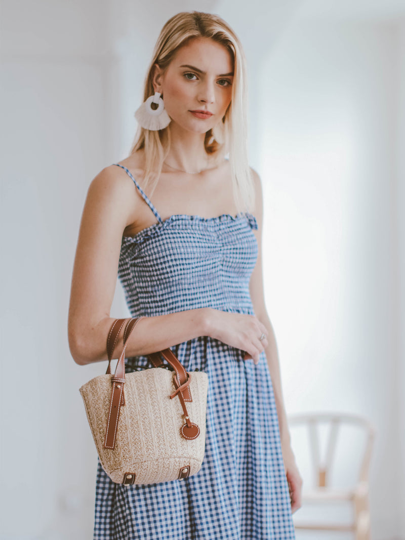 Goodnight Macaroon 'Piper' Gingham Ruched Midi Dress Model Half Body