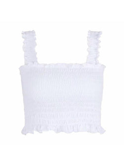 Goodnight Macaroon 'Iris' Ruched Cropped Top Product White Front