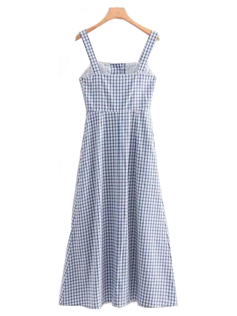 Goodnight Macaroon 'Jordyn' Gingham Button Maxi Dress Back