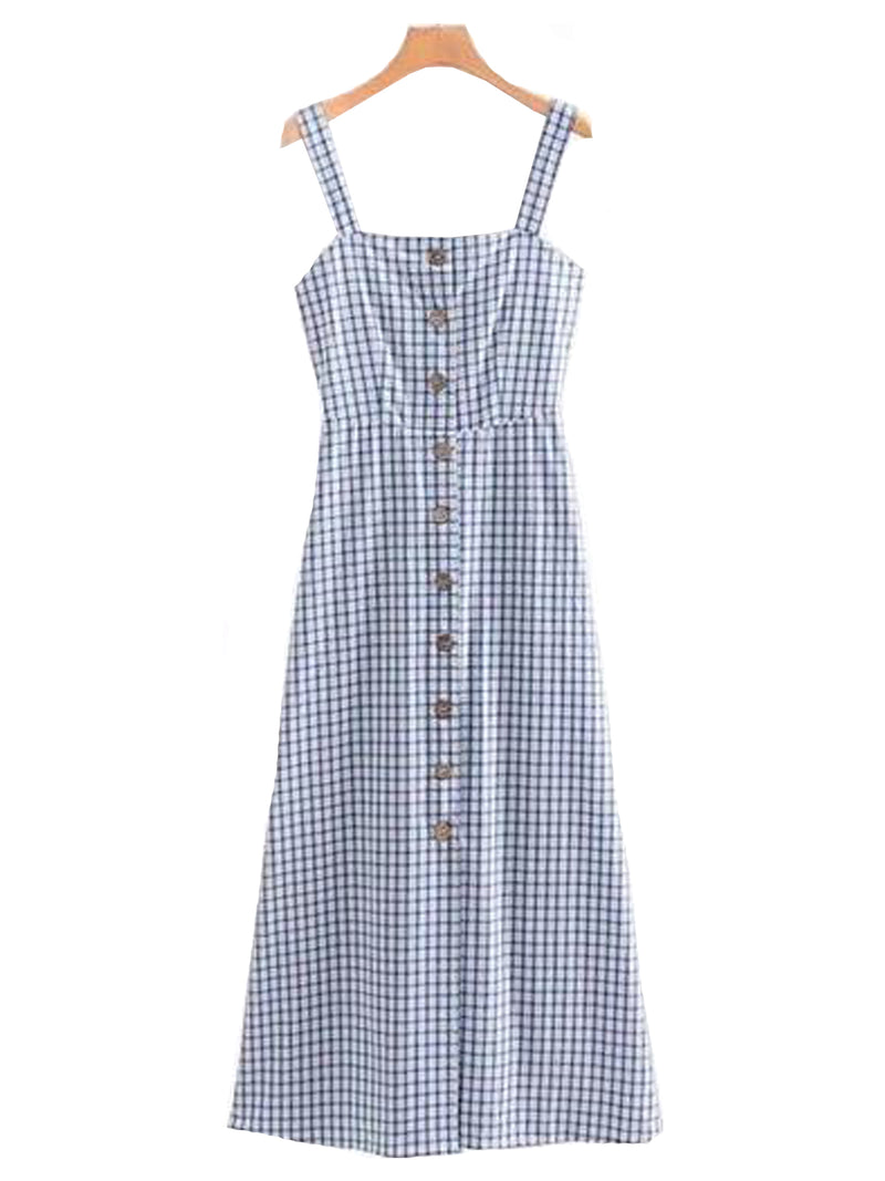 Goodnight Macaroon 'Jordyn' Gingham Button Maxi Dress Front
