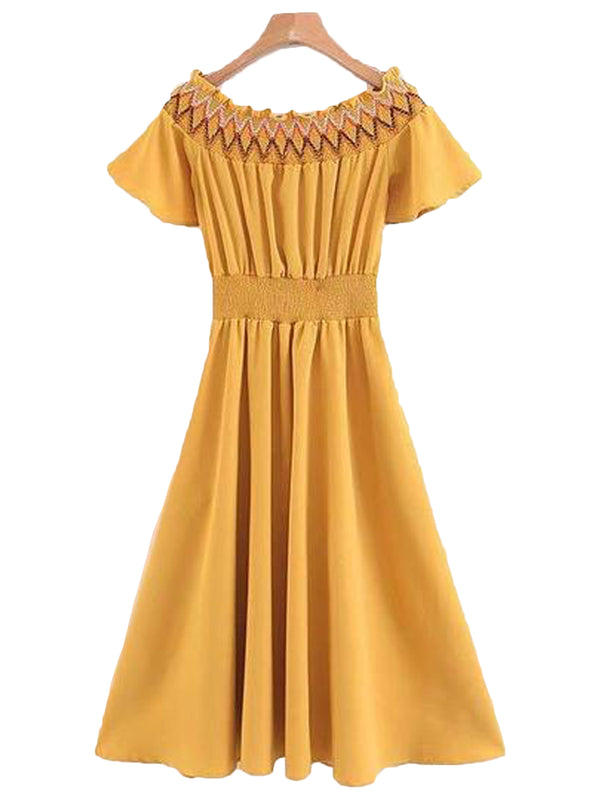 Goodnight Macaroon 'Esther' Ruched Off The Shoulder Belted Midi Dress Back