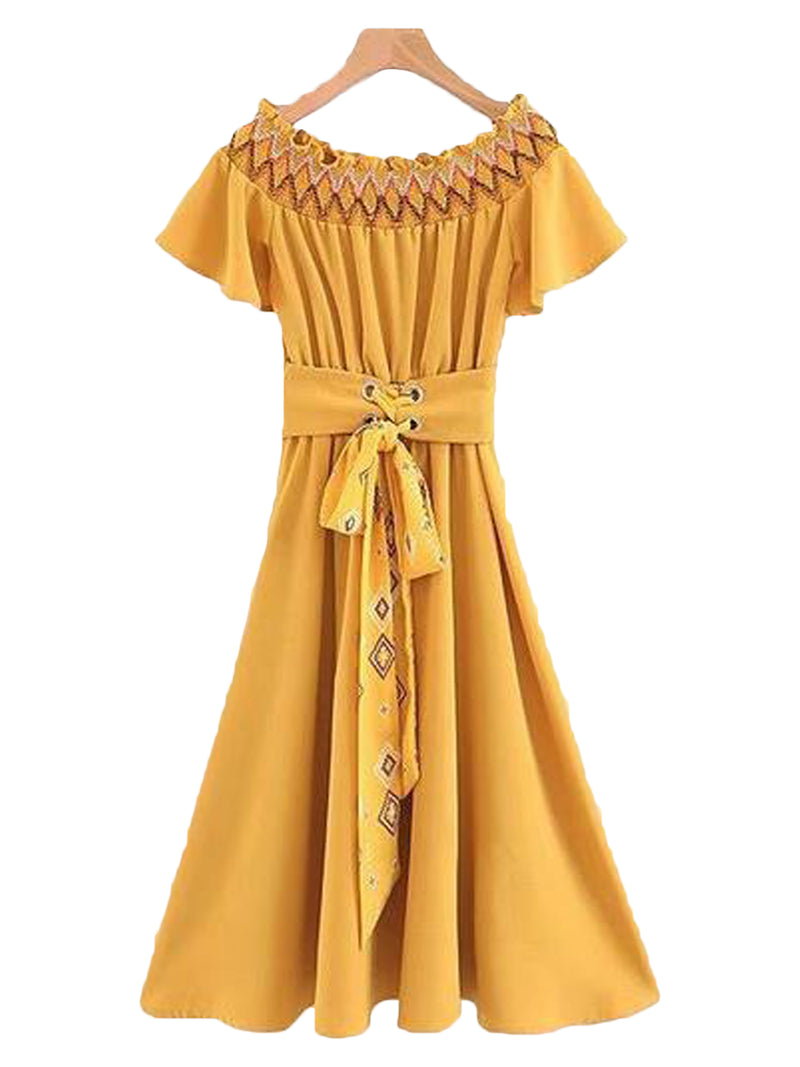 Goodnight Macaroon 'Esther' Ruched Off The Shoulder Belted Midi Dress Front