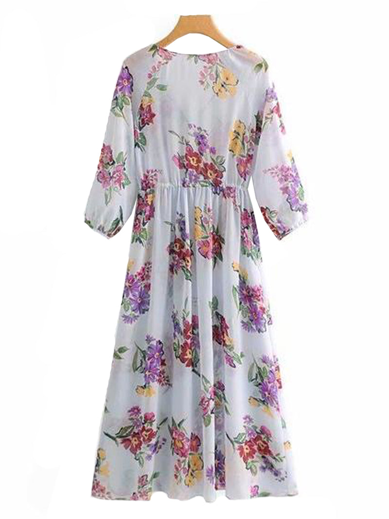 Goodnight Macaroon 'Elise' Floral Print Maxi Dress Back