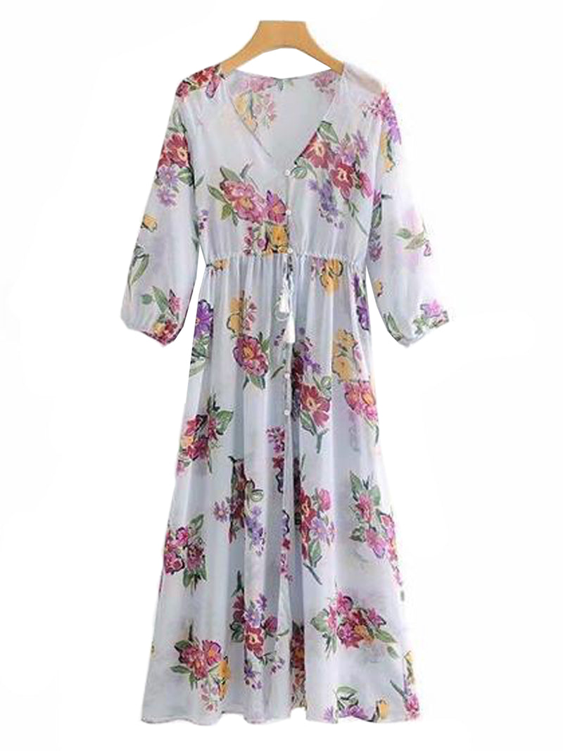Goodnight Macaroon 'Elise' Floral Print Maxi Dress Front