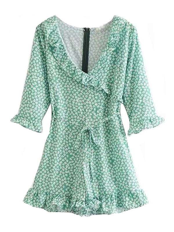 Goodnight Macaroon 'Lucia' Wrap Ruffle Floral Romper Front