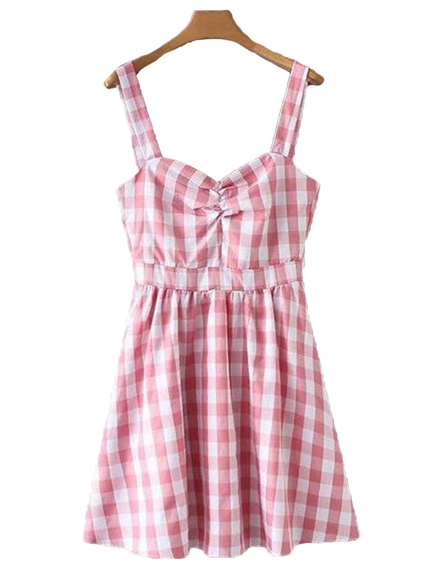 Goodnight Macaroon 'Harley' Gingham Flared Mini Dress Front