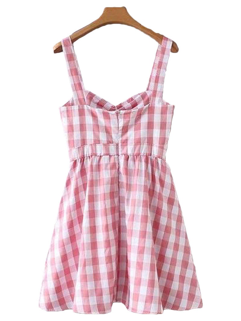 Goodnight Macaroon 'Harley' Gingham Flared Mini Dress Back