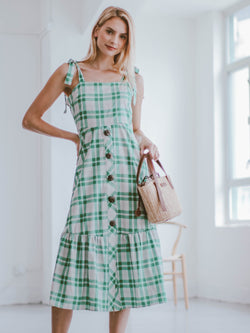 'Galia' Green Gingham Buttoned Shoulder Strap Midi Dress Model Full Body