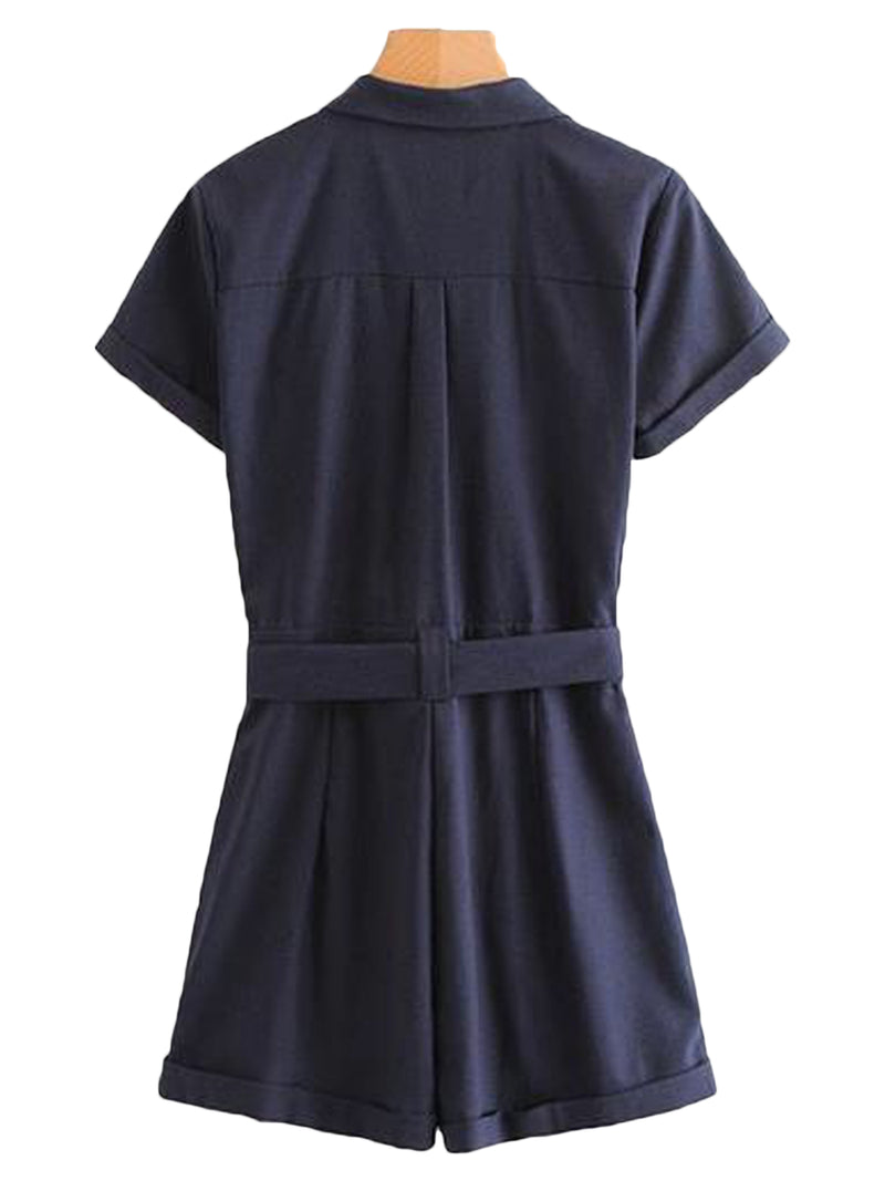 Goodnight Macaroon 'Remi' Belted Button-up Shirt Romper Back