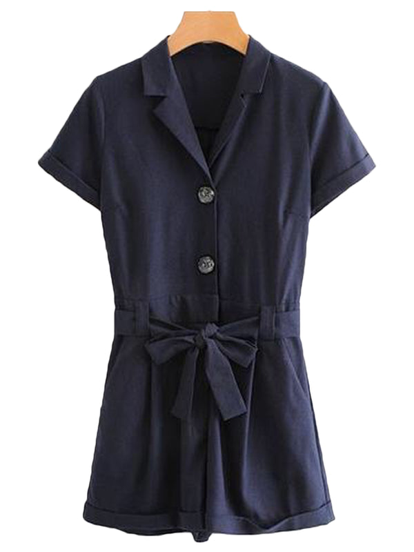 Goodnight Macaroon 'Remi' Belted Button-up Shirt Romper Front