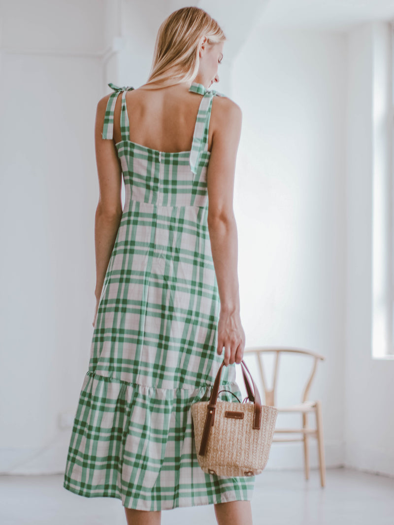'Galia' Green Gingham Buttoned Shoulder Strap Midi Dress Model Back
