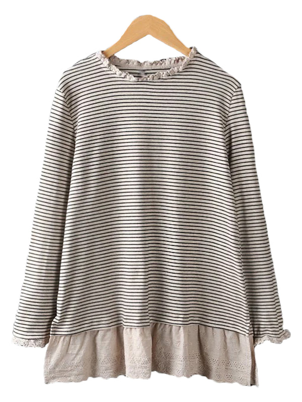 'Moyra' Frill Striped Mock Top (2 Colors)