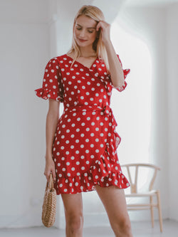 Goodnight Macaroon 'Victoria' Red Polka Dot Ruffle Wrap Dress Model Half Body Front