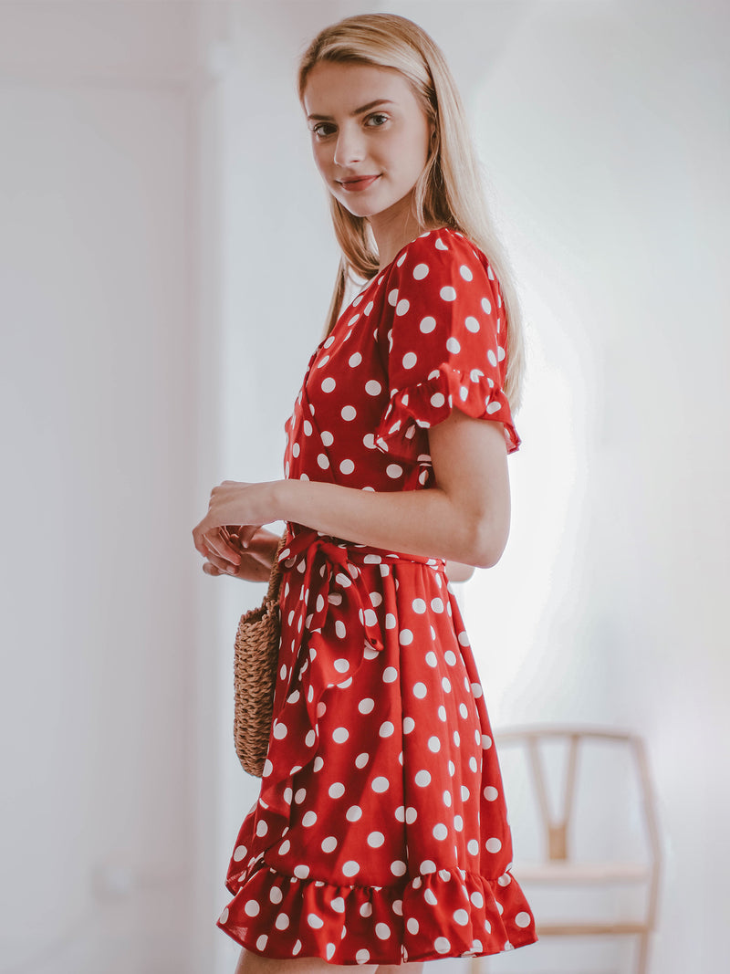 Goodnight Macaroon 'Victoria' Red Polka Dot Ruffle Wrap Dress Model Half Body Side