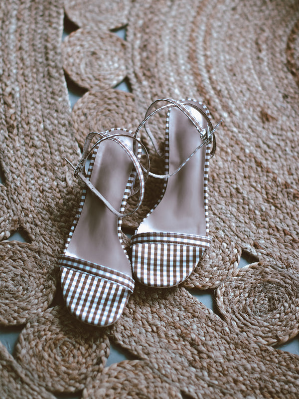 'Cecilia' Checked Print Heeled Sandals