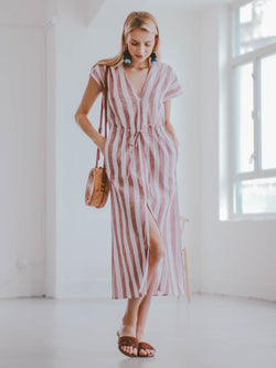'Morgan' Striped Linen Midi Dress