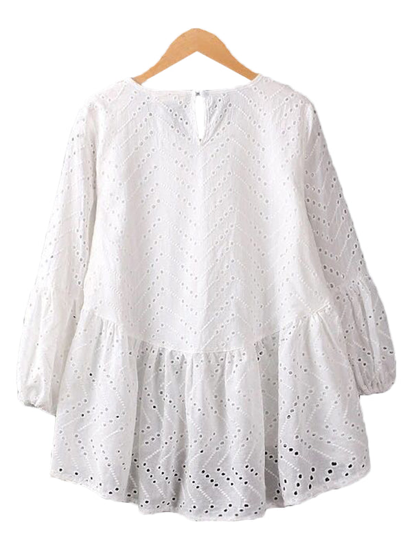 'Maggy' White Eyelet Lace Peplum Top