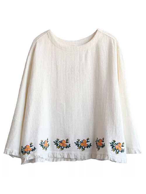 'Tarah' White Embroidered Hem Top
