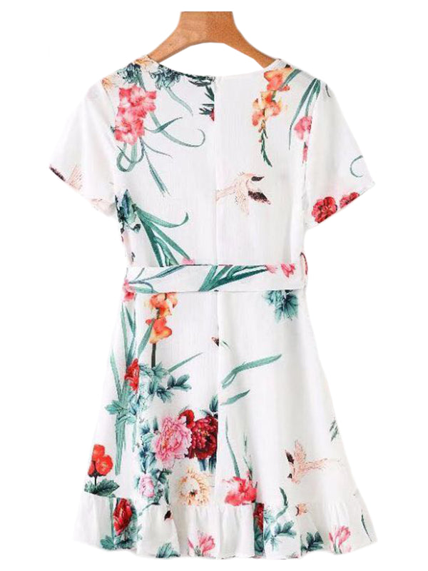 'Olympia' Floral Wrap Tied Dress