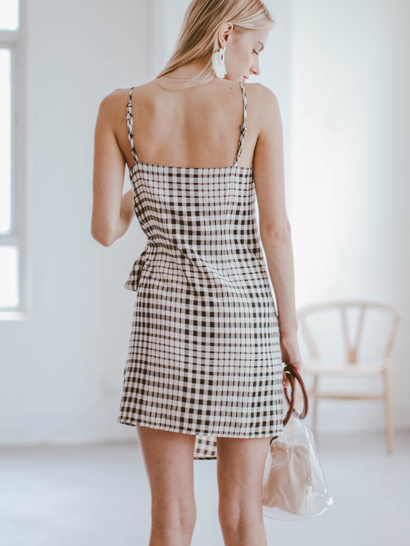 Goodnight Macaroon 'Hera' Plaid Side Tied Shoulder Strap Wrap Dress Model Back