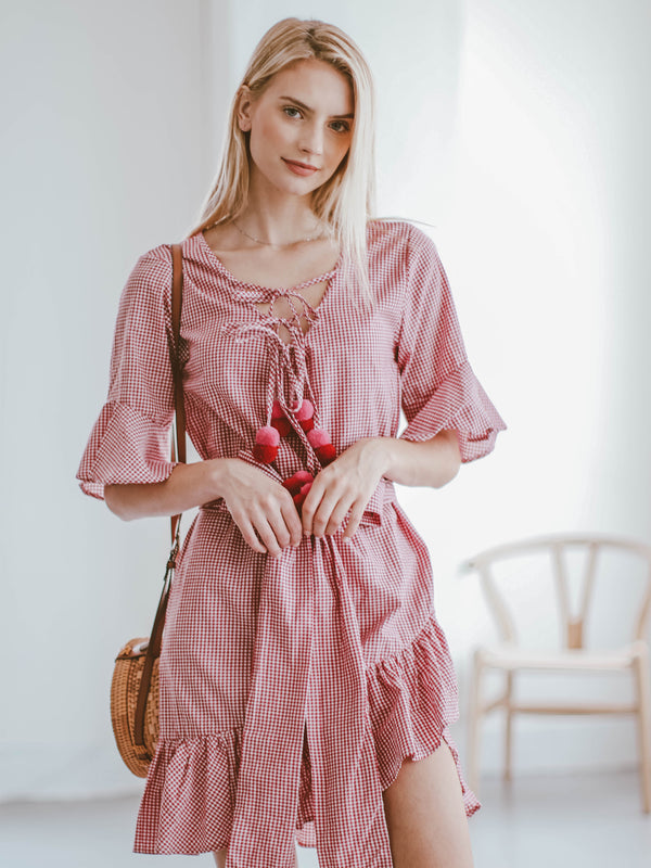 Goodnight Macaroon 'Nasya' Gingham Tied Front Pom Pom Ruffle Wrap Dress Model Front Half Body