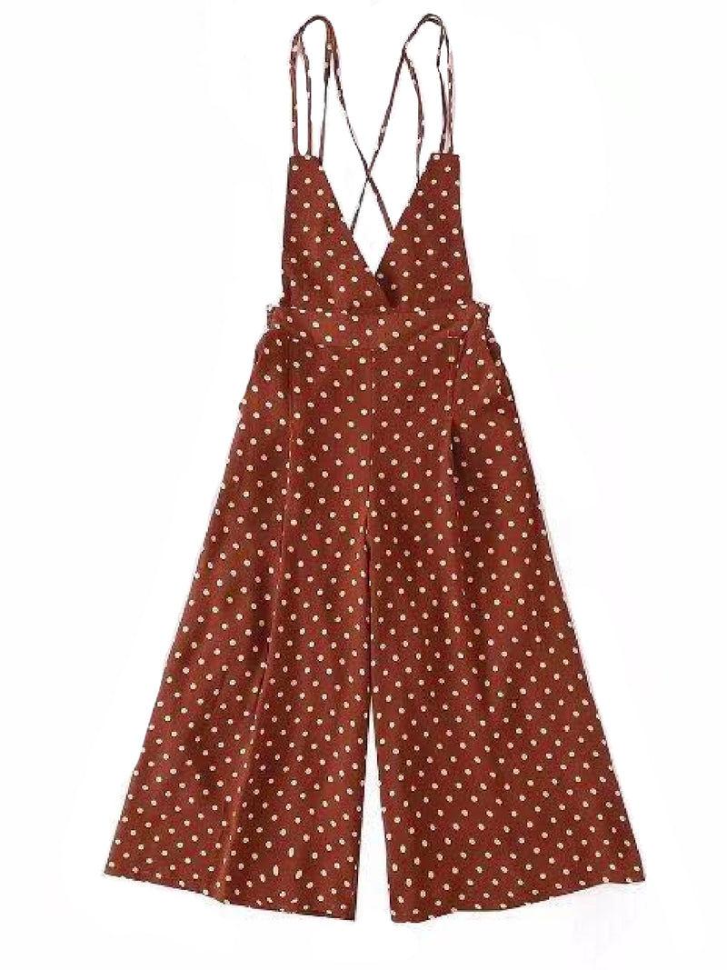 'Martha' Cross Back Dotted Jumpsuit