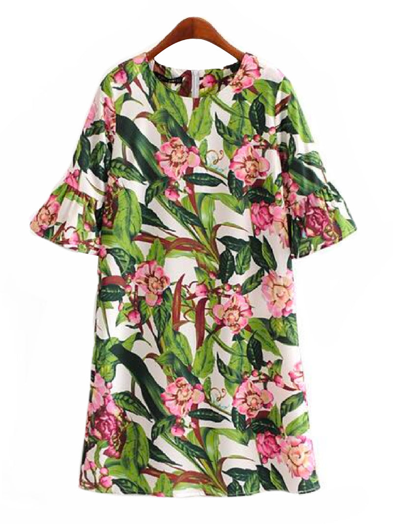 'Zoey' Floral Flare Sleeve Dress