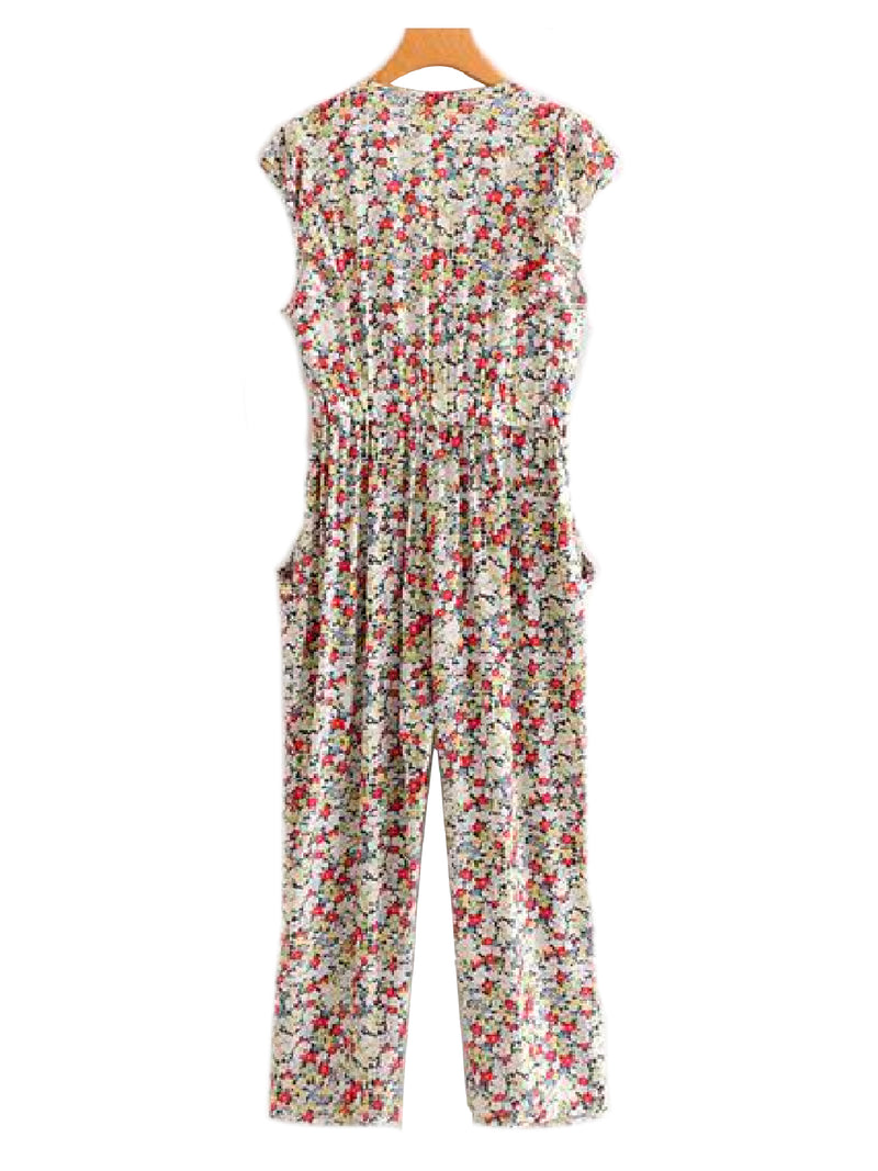 'Jolie' Floral Frilly Sleeveless Jumpsuit